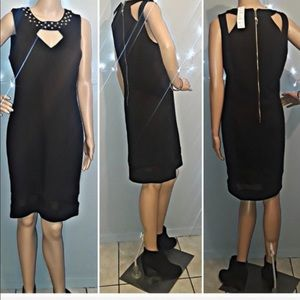 NEW Black dress with studs on collar